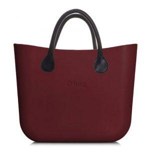 O bag kabelka MINI Bordeaux s hnědými krátkými koženkovými držadly