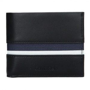 Pánská kožená slim peněženka Calvin Klein Alf – černo-modrá