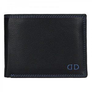 Pánská kožená peněženka DD Anekta Fido – černo-modrá