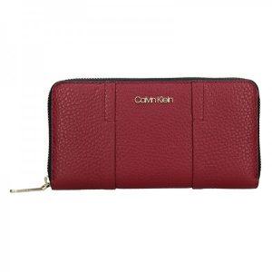 Dámská kožená peněženka Calvin Klein Alessia – vínová