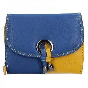 Dámská kožená peněženka DD Anekta Milena – modro-žlutá