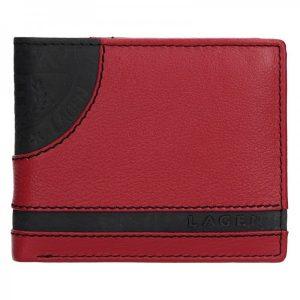 Pánská kožená slim peněženka Lagen Rhys – černo-červená