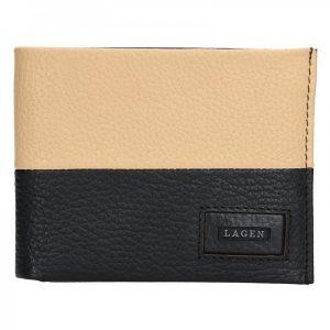 Pánská kožená slim peněženka Lagen Danny – černo-béžová