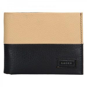 Pánská kožená peněženka Lagen Will – černo-béžová