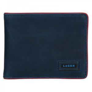 Pánská kožená slim peněženka Lagen Kieran – modrá