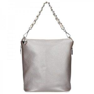 Dámská kožená kabelka Facebag Marta – stříbrno-šedá