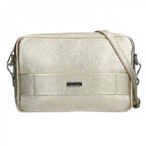 Trendy dámská kožená crossbody kabelka Facebag Nina – zlatá