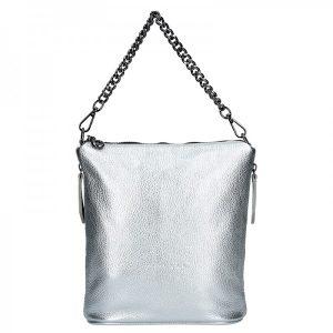 Dámská kožená kabelka Facebag Marta – stříbrná