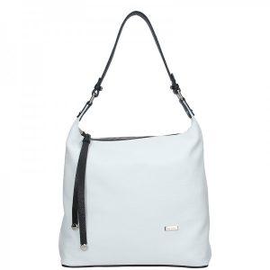 Dámská kožená kabelka Facebag Fionna – bílo-černá