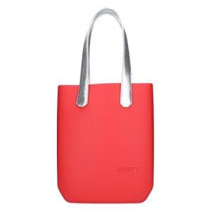 Dámská trendy kabelka Ju'sto J-High – červeno-stříbrná