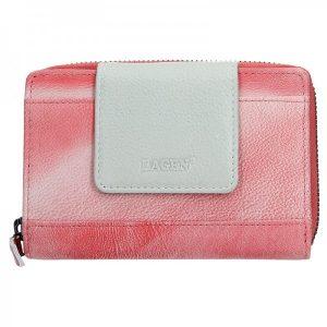 Dámská kožená peněženka Lagen Agáta – růžovo-stříbrná