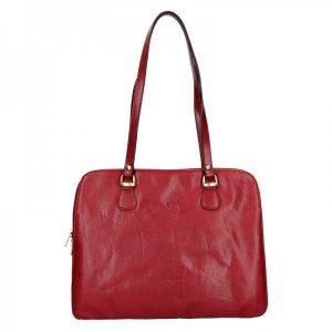 Luxusní kožená dámská kabelka Hexagona 113292 – červená