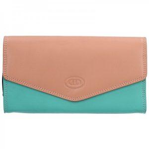 Dámská kožená peněženka DD Anekta Selma – růžovo-zelená