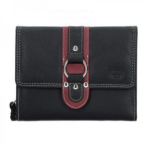 Dámská kožená peněženka DD Anekta Patricie – černo-vínová