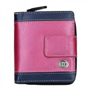 Dámská kožená peněženka DD Anekta Olga – modro-růžová