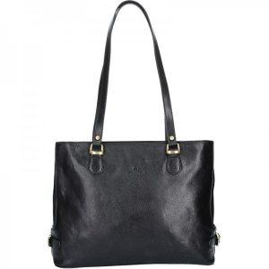 Luxusní kožená dámská kabelka Hexagona 111321B – černá