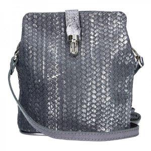 Dámské kožené crossbody Facebag Marta – šedo-stříbrná