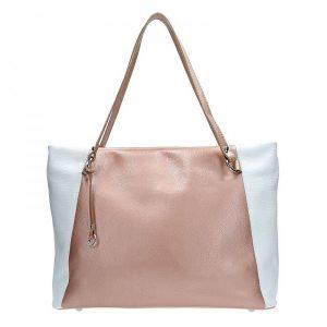 Dámská kožená kabelka Facebag Joana – růžovo-bílá