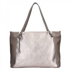 Dámská kožená kabelka Facebag Joana – stříbrná