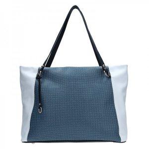 Dámská kožená kabelka Facebag Joana – modro-bílá