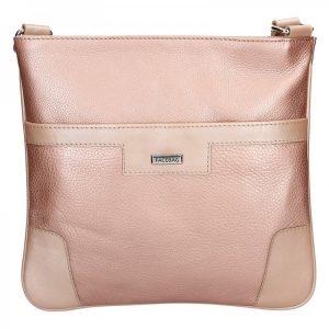 Dámská kožená crossbody kabelka Facebag Ghita – růžová