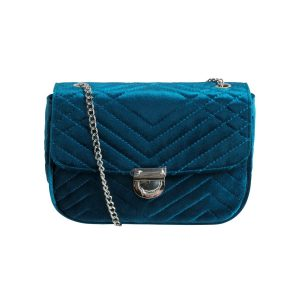 Sametová petrolejově modrá crossbody kabelka Taissa 35407