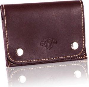 Slim leather men's card holder SOLIER (SW18 DARK BROWN VINTAGE) Velikost: univerzální
