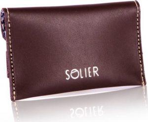 Slim leather men's card holder Solier (SW19 DARK BROWN VINTAGE) Velikost: univerzální