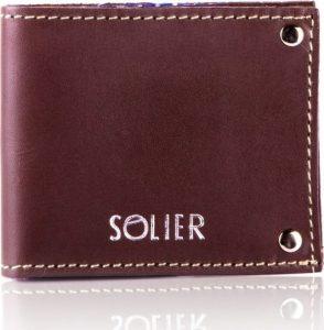 Slim leather men's card holder Solier (SW21 DARK BROWN VINTAGE) Velikost: univerzální