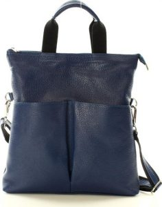 Granátová kožená kabelka se dvěma kapsami MAZZINI (s148j) Velikost: univerzální