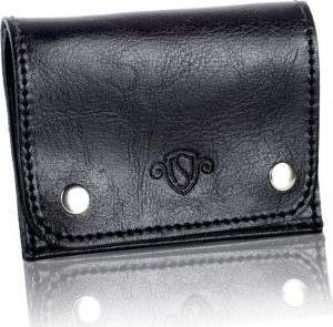 Slim leather men's card holder SOLIER (PORTFEL SW18 BLACK) Velikost: univerzální