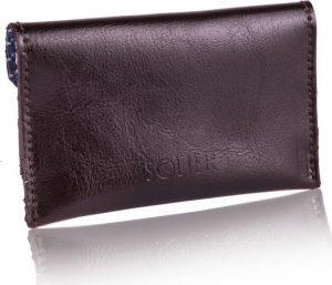 Slim leather men's card holder Solier (PORTFEL SW19 DARK BROWN) Velikost: univerzální
