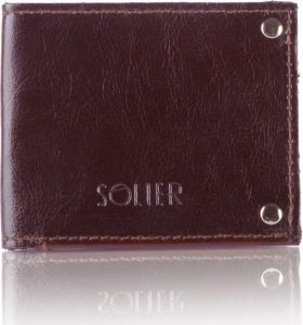 Slim leather men's card holder Solier (SW21 DARK BROWN) Velikost: univerzální