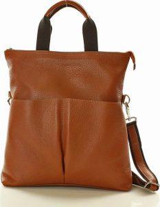 Hnědá kožená kabelka se dvěma kapsami MAZZINI (s148i) Velikost: univerzální