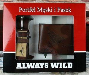 BUFFALO WILD Set tmavě koženého pásku a peněženky v hnědé barvě PSB-N7-02-GG Velikost: univerzální