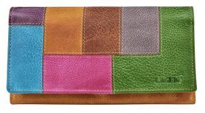Lagen Dámská kožená peněženka V-17/D Yellow/Multi