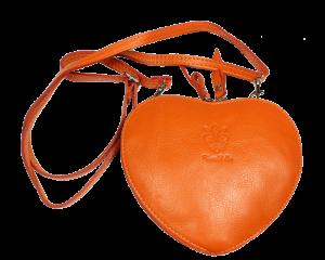 Malá Italská kožená kabelka Cuore Arancione