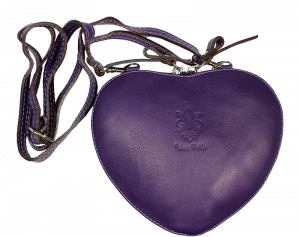 Malá kožená kabelka Cuore Porposa Scura