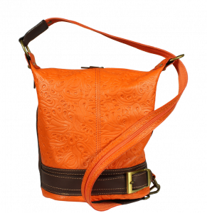 Kožená kabelka crossbody Adele Stampa Arancione Secondo