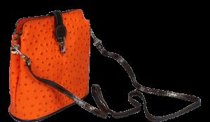 Oranžová kabelka přes rameno Fibbia Arancione Cafe Struzzo