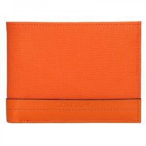 Pánská kožená peněženka Calvin Klein Natah – oranžová