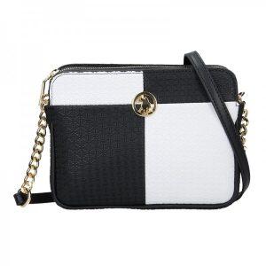 Dámská crossbody kabelka U.S. POLO Nicol – černo-bílá