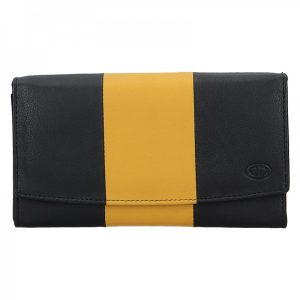 Dámská kožená peněženka DD Anekta Alena – černo-žlutá