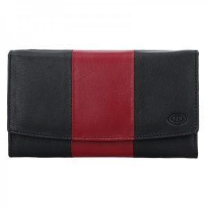 Dámská kožená peněženka DD Anekta Alena – černo-červená