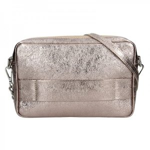 Trendy dámská kožená crossbody kabelka Facebag Ninas – zlatá