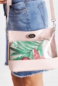 DAVID JONES Transparentní růžová kabelka 5935-1 PINK Velikost: univerzální