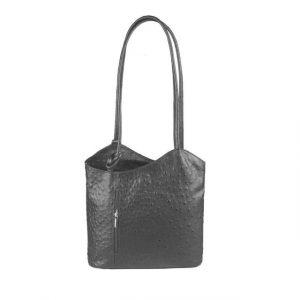 Kabelka Connie Ostrich kožená – černá