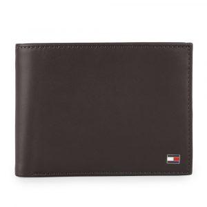 Tommy Hilfiger Pánská kožená peněženka Eton Cc Flap And Coin AM0AM00652 – tmavě hnědá