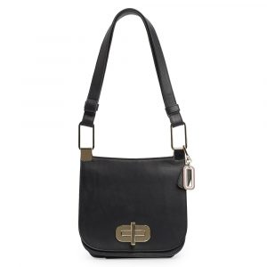 Tommy Hilfiger Dámská kožená kabelka přes rameno Soft Turnlock AW0AW07102 – černá