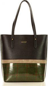 MONNARI Černá shopper kabelka se zeleným vzorem (A250b) Velikost: univerzální